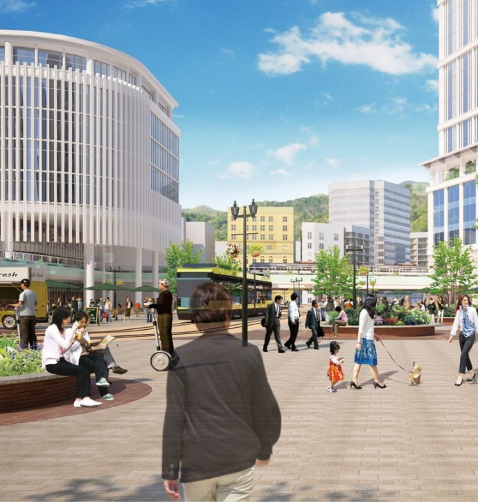 神戸市では、次世代型路面電車や連節バスの導入が検討されており、公共交通の南北軸を強化することで街の魅力の向上が期待できる 画像提供/神戸市
