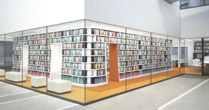 図書館は、本が搬入されるとこのようなイメージになる