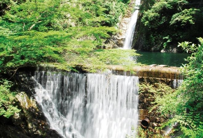 落差19メートルの雌滝は、白い布がはためくような姿が美しい