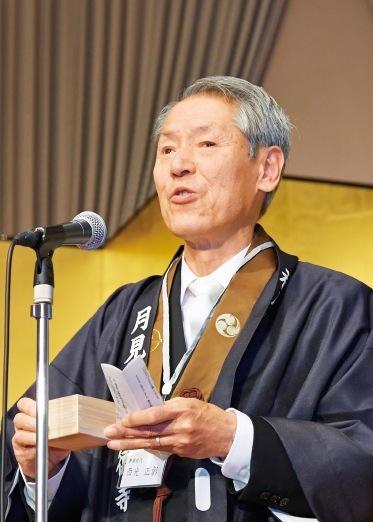 檀家を代表して祝辞を述べる西光正彰さん
