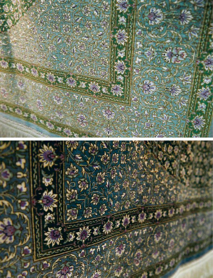 写真上と同じ絨毯。見る角度によって色が変化する。これは毛の流れによるもの