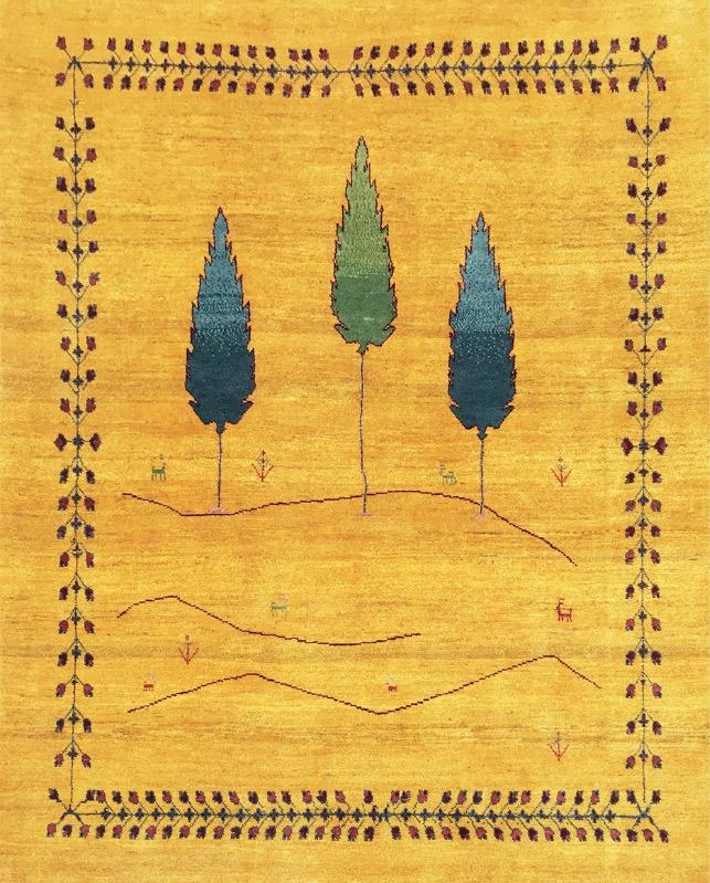 草木染めの独特の色合いと大胆なアート感覚にあふれたギャッベ