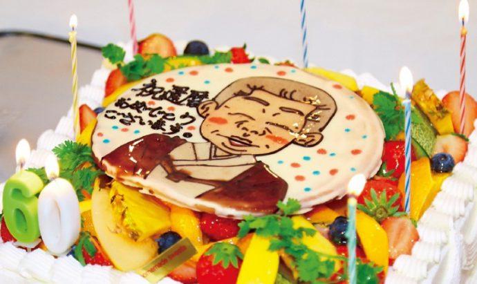 バースデーケーキには御家元の似顔絵が