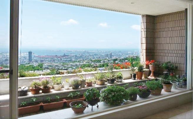 高台に建つ自宅から神戸の街を一望する
