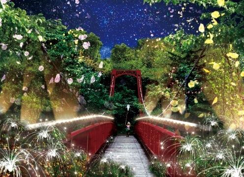 ライトアップ【Jozankei Nature Luminarie】。『二見公園~二見吊橋(停留所「定山渓湯の町」下車、徒歩3分)』にて19〜21時(9・10月は18〜21時)まで開催。見学無料
