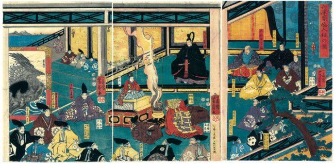 「兵庫築嶋人柱祈祷の図」一寿斎芳員画