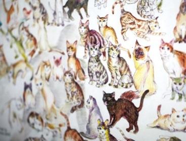 デザイナーで猫大好きのご主人による…猫大集合のイラスト