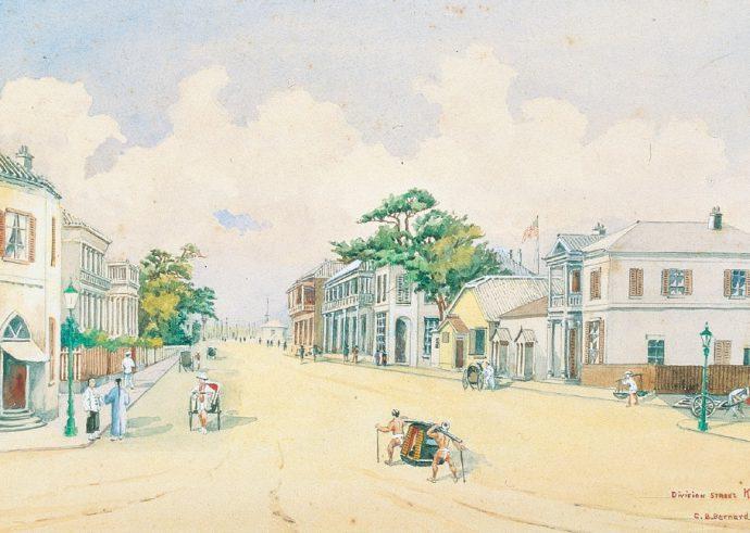 居留地風景(Division STREET KOBE) C.B.バーナード筆 1878年 (神戸市立博物館蔵)
