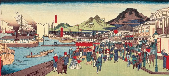 神戸海岸繁栄之図 二代長谷川貞信画 明治4年頃(神戸市立博物館蔵)