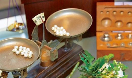 真珠産業を紹介する資料や展示物