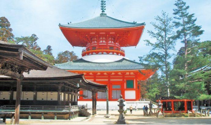 高野山を象徴する壇上伽藍。日本仏教の聖地でもある
