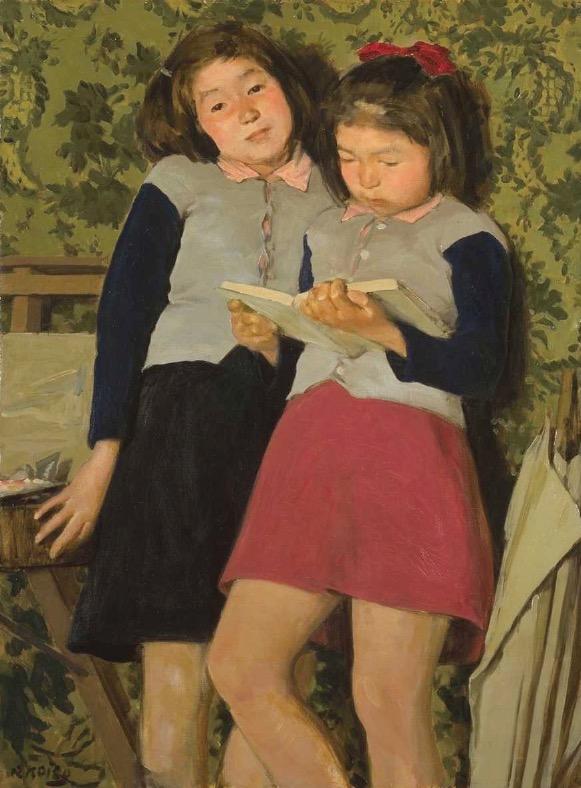 小磯良平「二人の少女」1946年 油彩 神戸市立小磯記念美術館蔵 長女・嘉子さんと次女・邦子さんをモデルにした