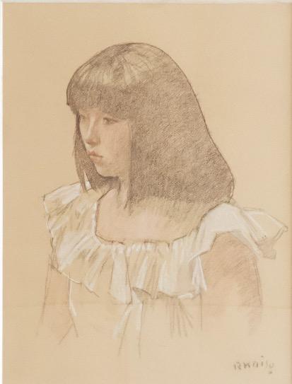 嘉納さんのお嬢さんを描いた小磯の素描