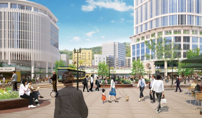 神戸の玄関口・三宮駅周辺の再開発に力を入れていく。賑わいの創出がカギとなる。三宮再生のイメージ図