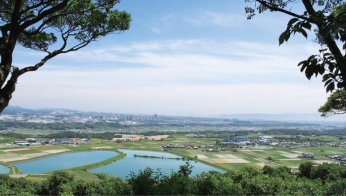 西区・北区には、のどかな田園風景が広がる。写真は、神出神社(西区)から望む田園風景