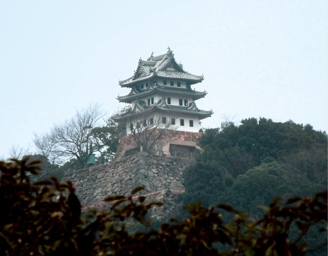 厳島神社からのぞむ洲本城跡と石垣