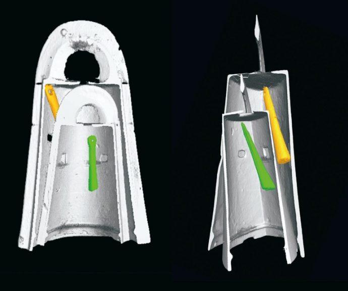 松帆銅鐸をCTスキャンで解析すると、大小の銅鐸に挟まって舌が見つかった