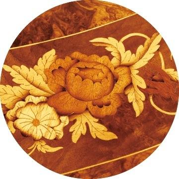 咲きほこったバラは神や人生を意味する。これらの柄、全てが喜びと幸福の象徴とされたものばかりが集めてある
