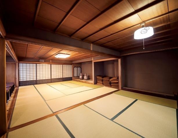 和館に設けられた和室。 洋館と和館は地下廊下でつながっていたと伝わる