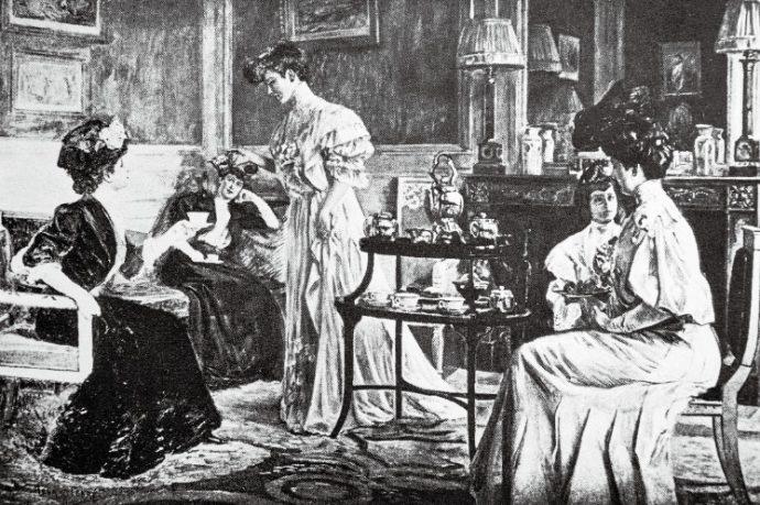 """全く同じ2段のダムウエイターが描かれた""""ドロウーイングルームティ1890年英国"""""""