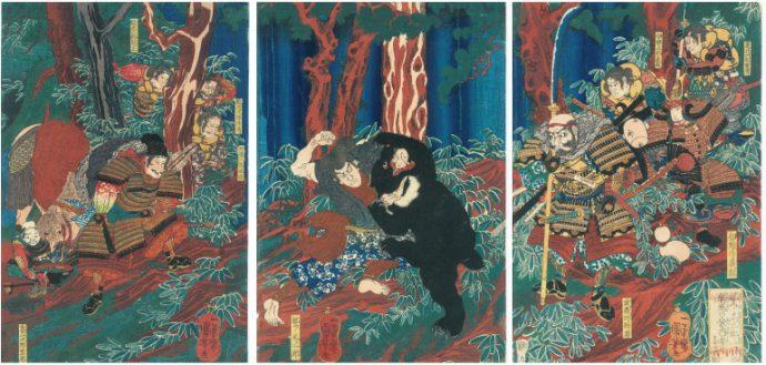 歌川国芳画 鷲ノ尾三郎一の谷鵯越の案内者となる図