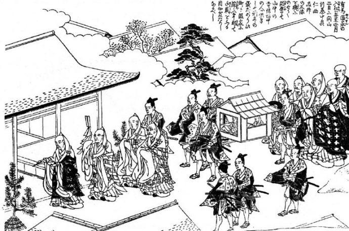 「入初式」は温泉の恵みに対する感謝と、有馬の開山および中興に尽力した行基と仁西上人への崇拝を表す。江戸時代から現在まで、正月2日に行われている。『摂津名所図絵』より